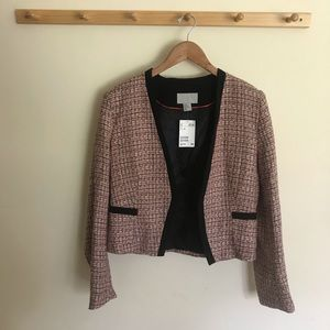 NWT H&M Tweed Blazer Open Front Pink Size US 12